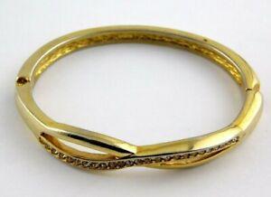 Vintage Roman Infinity Bangle Bracelet Hinged Clear Channel Rhinestones Signed