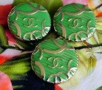 Chanel buttons lot of 3 size 1 inch 24 mm logo CC green  metal