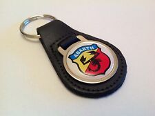 FIAT ABARTH Quality Black Real Leather Keyring 500