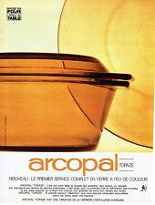 Publicité Advertising 018  1967  Arcopal  service  en verre à feu Topaze