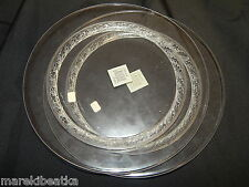 """LALIQUE FRENCH  CRYSTAL 2  LUNCHEON 8 3/4"""" PLATES SET W / FREE FORM ETCHED"""