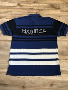 Nautica Navigation Polo Shirt Size Large Blue Black White Men's Casual Collared
