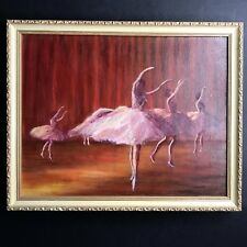Vtg Ballerina Oil Painting Mid Century Outsider Art Framed Canvas Ballet Dancer