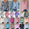 Plus Size Womens Short Sleeve V Neck T-shirt Boho Floral Casual Tunic Blouse Top