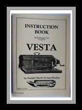 Vesta Transverse shuttle Sewing Machine Instructions Manual Booklet