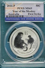 New listing 2016-P Pcgs Ms69 Australia Year Of The Monkey 1/2Oz Coin! #A3761