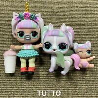 3x Unicorn Doll & lil unicorn & Unipony Pony Pet Confetti Pop Series 3