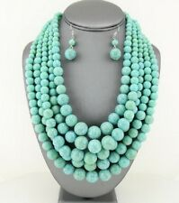 Five Layers Cracked Look Turquoise Lucite Bead Gradual NecklacE earring Set
