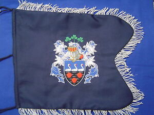 Coat of Arms / Family Crest Bagpipe Banner   Hand Embroidered by Geoffrey