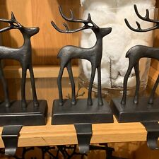 NIB Pottery Barn ~SANTA'S REINDEER~ Stocking Holder (1) ~CHRISTMAS~ Bronze DEER