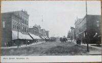 Stockton, IL 1909 Postcard: Main Street / Downtown - Illinois Ill