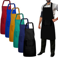Chef Bib Apron Kitchen Cooking Front Pocket 6 Colors UNISEX