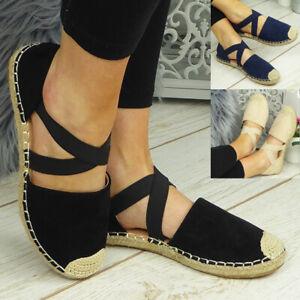 Ladies Flat Comfy Light Hessian Womens Espadrilles Elastic Strappy Shoes Sandals