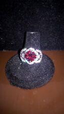 Stunning Silver Tone Ruby Rhinestone Statement Ring, Fashion Jewelry, Size 7
