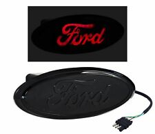 """F150 Truck Rear Ford Black 2"""" Tow Hitch Receiver Cover Red LED Light Up Emblem"""