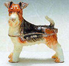 Bejeweled Enamel Trinket Jewelry Box, Opens w/ Magnet, Fox Terrier Dog 3923