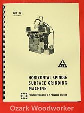 """Tos Bph-20 10"""" x 25"""" Surface Grinder Operator's & Parts Manual 0722"""