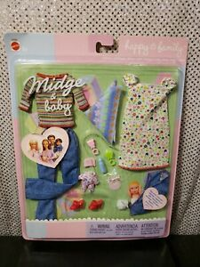 RARE MIDGE & BABY HAPPY FAMILY BARBIE DOLL FASHION SET 2003 MATTEL 47629 NRFB