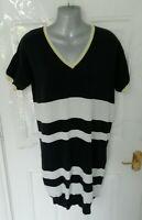 NEXT Size 12 Dark Navy Blue Shimmer Yellow Fine Knit Jumper Stretch Dress