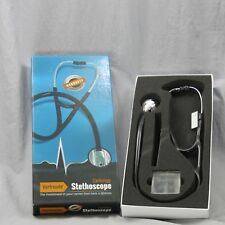 "Vorfreude Cardiology Stethoscope 27"" Black Bonus Pupil Light 6 Ear Tips Name Tag"