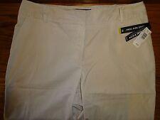 NEW WOMEN'S BRIGGS NEW YORK DRESS SHORTS SIZE 14 TAN WHITE STRIPED MSP $32.00