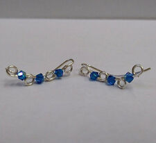 NEW Sterling Silver Ear Climber Earrings with Capri Blue AB Swarovski Crystals