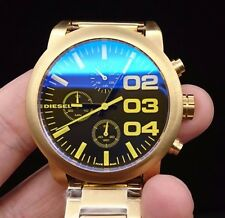 New Old Stock DIESEL Flare DZ5467 Chronograph Gold Plated Quartz Men Watch