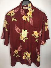 Men's Tommy Bahama Bordeaux Blooms Silk Hawaiian Button Up Shirt •Size XL *NWT