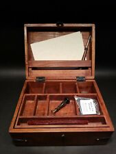 Antique Vintage Style Travel Wood Writing Set Desk Box