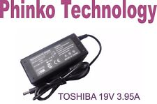 Laptop Charger For Toshiba Satellite L750 L750D 19V 3.95A 75W Free AU Power Cord