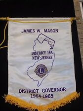 1964 Lions Club Banner-James W Mason District 16A Governor New Jersey
