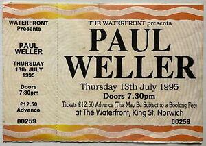 Paul Weller Original Unused Concert Ticket Waterfront Norwich 13th July 1995