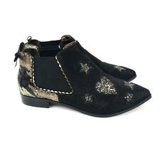 NWOB Irregular Choice Starlight Impress Black Gold Sequin Star Ankle Boots Sz 40