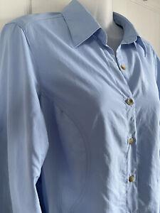 Ladies Berghaus UK 12 Walking Shirt Top Blue Long Roll Tab Sleeves Vents VGC