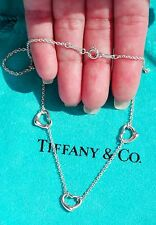 Tiffany & Co Elsa Peretti Sterling Silver Three 3 Open Heart Pendant Necklace