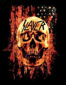 SLAYER cd lgo US AMERICAN FLAG SKULL FLAMES Official SHIRT SMALL New OOP