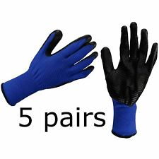 5 x SAFETY WORK GLOVES LATEX COATED BUILDER MECHANIC GARDEN CONSTRUCTION Size XL