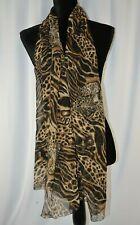 Brioni Women's Scarf Shawl Wrap Leopard Print Italy Silk Trim 63 x 26 Colorful