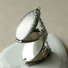 Oval Locket Photo Frame 4 Slots Necklace Chain Jewelry For Women Girls Memory