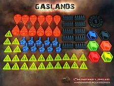 GASLANDS: MISC.TOKENS - VOTE, HAZARD, AMMO, FLAG, GATES - Acrylic - Colour Coded