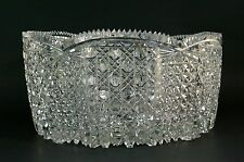 Hand Cut Crystal Bowl Made in Turkey Turkish Glass Bowl Scallop Sawtooth Rim