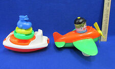 Vintage Gay Toys Inc Boat & Amloid Corp Airplane Plastic Bath Toys Made In USA