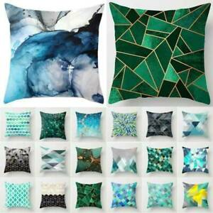 Blue & Green Geometric Polyester Cushion Cover Throw Pillow Case Sofa Home Decor
