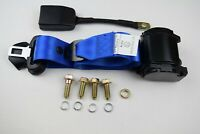 Blue Universal 3 Point Inertia Seatbelt with wire buckle - Car, Van, Coach