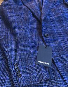 Bonobos Mens 38R blue plaid Duemilagori sport coat, new with tags