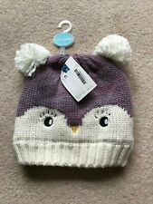 John Lewis Girls Textured Owl Hat 12-24 Months