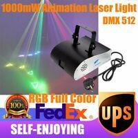 RGBW 1000mw DIY Animation DMX ILDA Laser Projector DJ Party PRO Stage Lighting