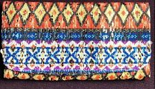 ORANGE BLUE AZTEC WOVEN FABRIC TOBACCO POUCH ETHNIC SMOKERS POUCH