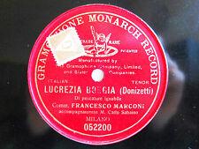 78rpm FRANCESCO MARCONI - DONIZETTI Lucrezia Borgia - RARE MONARCH MILANO 1908