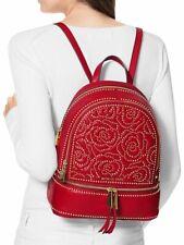 Michael Kors Backpack Bag Rhea Md Studded Backpack Red New 30h8gezb20